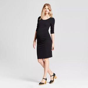 Isabel Maternity Black 3/4 Sleeve Midi Dress